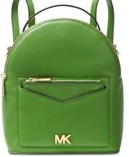 New Michael Kors Jessa convertible backpack true green Gold bag zip leather
