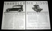 1917 OLD MAGAZINE PRINT AD, CHANDLER MOTOR CAR LEADS ALL SIXES BECAUSE OF MOTOR!