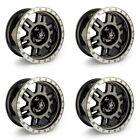 Set 4 17 Vision 398 Manx Black Machine Wheels 17x8.5 6x5.5 0mm Gmc Chevy 6 Lug