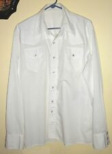 Pre-owned Mens white Western square dance shirt, size L, with pearlized snaps