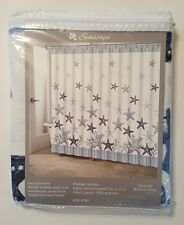 Starfish Shower Curtain Beach Fabric Traditions Seascape Blue White Coastal NEW