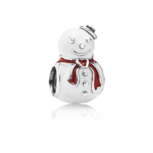 Genuine Pandora  Happy Snowman Enamel Sterling Charm 791406ENMX Retired