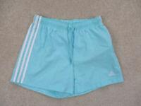 Adidas Shorts Womens Small Blue White Runner Run Running Athletic Gym Ladies B4