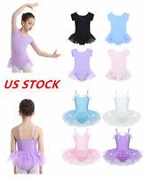 US Girls Ballet Dress Swan Dance Tutu Skirts Kids Gymnastics Leotards Dancewear