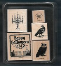DARK & DREARY SET Halloween RAVEN OWL SPIDER Stampin' Up NEW wood RUBBER STAMPS