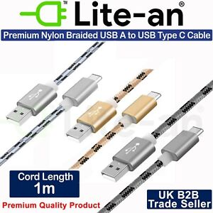 Fast USB Cable 2.0 USB-A to USB-C (USB Type C) Data Sync and Charge Lead Wire