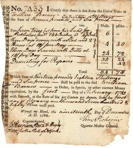 1782, Timothy Pickering, Quartermaster General, scarce signed pay certificate