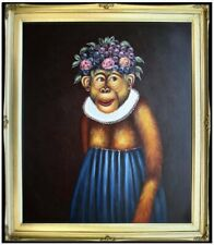 Framed Quality Hand Painted Oil Painting, Monkey with Blue Dress, 20x24in
