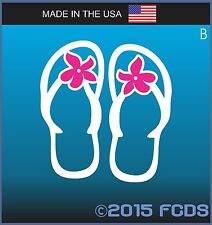 Classic Beach Flip Flop with Pink Flower Decal Sticker for Cars Trucks Windows B