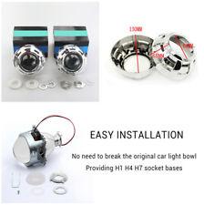 2X 3'' Bi-xenon H1 H4 H7 Car Headlights Projector Lens & Shrouds & Adapters Set