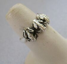Mexican 925 Silver Taxco Oxidized Four Good Luck Detailed Frog Toad Ring Sz 5.25