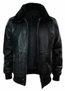 New Genuine Leather Motorbike Jacket For Men Distressed Fur Collar Retro XXS-4X