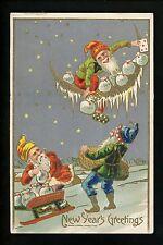Fantasy Vintage postcard New Years greetings Gnomes elves embossed