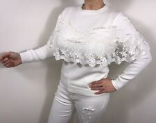 Lace Jumper Ruffles Frills White Vintage Lace Top Fashion On Trend Summer NEW