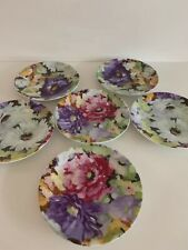 Six Vintage Limoges Philippe Deshoulieves Porcelain small plates