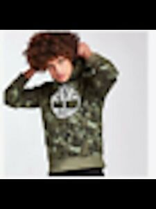 Timberland Mens Green Camouflage Long Sleeve Classic Fit Hoodie S