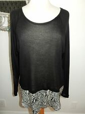 KAIN BLACK ANIMAL PRINT LAYERED TOP SWEATER BLOUSE NEW WITH TAGS MED SOFT $176