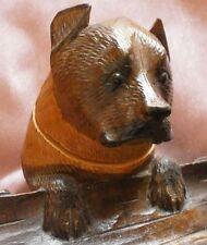 Forêt noire : Encrier zoomorphe bois sculpté Chien yeux sulfure - Inkwell