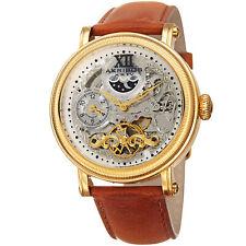 Men's Akribos XXIV AK968YGTN Automatic Skeleton Dual Time Tan Leather Watch