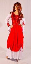 Renaissance Medieval Gothic Red Gown Dress Corset Satin Chemise Costume S M