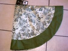 48 INCH GREEN BROCADE TREE SKIRT CHRISTMAS DECORATION