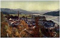 BAD TÖLZ Bayern ~1925 alte Postkarte Vogelschau Perspektive mit Isar Tal Blick