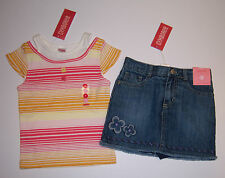 NWT Gymboree Glamour Safari 3 3T Stripe Button Tee & Flower Denim Skirt Skort