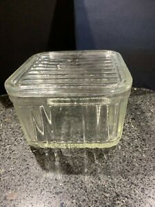 Depression glass very heavy butter dish 14cm square with lid