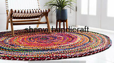 Multi Color Round Braided Rug Indian Handmade Cotton 3 Feet Area Floor Rug Rags