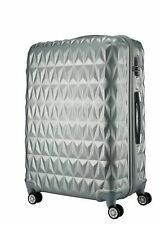 "Large 28"" 4 Wheel ABS Hard Shell Checked Check In Hold Lugagge Suitcase SILVER"