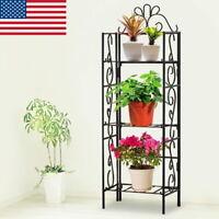 3 Layers Metal Shelf Flower Pot Plant Stand Rack Garden Indoor Outdoor Patio