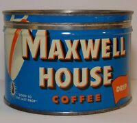 Vintage 1950s MAXWELL HOUSE COFFEE KEYWIND COFFEE TIN 1 POUND Hoboken New Jersey