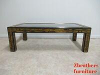 Vintage Mastercraft Ebonized Brass Etched Rectangular Glass Top Coffee Table