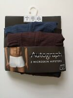 Men's 2 Pack Microskin Hipsters Trunks Autograph NEW Ex M&S Size S-XL RRP £17