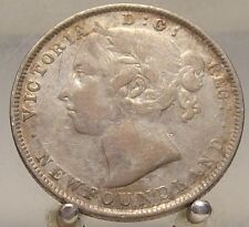 1896 Small 6 Canada Newfoundland Silver 20 /cents, Old Silver World Coin