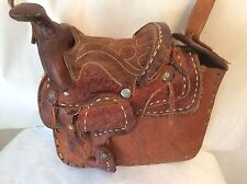a204270b8cd8 50s Saddle Purse Vtg Western Hand Tooled Leather Shoulder Bag w Long Strap  G11