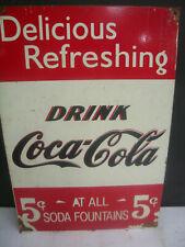 COKE 5C AT ALL SODA FOUNTAINS RETRO TIN SIGN FREE POST  AUSTRALIA