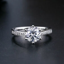 Engagement Ring 925 silver sterling 1.5carat white Round brilliant Moissanite