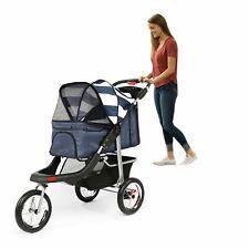 Folding Pet Jogging Stroller Cat Dog Travel Carrier 3 Wheels with Storage Basket
