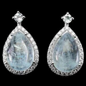 Unheated Pear Aquamarine 13x9mm Sky Blue Topaz Cz 925 Sterling Silver Earrings