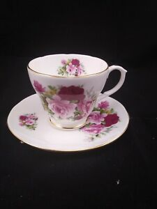 Duchess Tea Cup Saucer Set Pink & Red Roses Footed Gold Trim