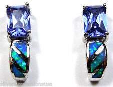 Princess Cut Tanzanite & Blue Fire Opal Inlay 925 Sterling Silver Post Earrings