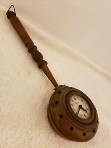 Antique Working French Victorian 'Brass Bed Warmer' Novelty Wind-Up Wall Clock