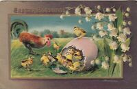 1912 Easter Blessings Raised Postcard -  Rooster and Chicks, Paoli , Indiana