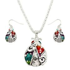 Lady Bug Necklace Pendant Set Mesh Chain Chunky SILVER MULTI Nature Tree Jewelry