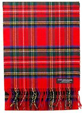 100% CASHMERE Scarf Red Blue Check Plaid Tartan Soft SCOTLAND Wool Women D316