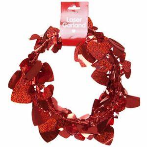 Valentines Day Decoration, Lazer Red Heart Garland
