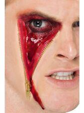 Halloween Fancy Dress Zombie Zipper Zip Face Make Up Scar & Glue New by Smiffys