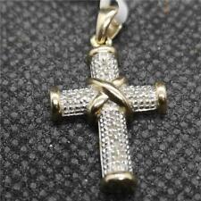9ct yellow gold diamond cross