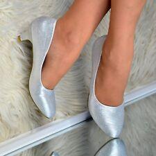 Womens Glitter Low Kitten Heel Shoes Slip on Pumps Evening Court Shoe Party Size